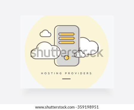Hosting providers concept vector illustration for website user interfaces. Cloud services, hosting companies, servers. Trendy outline icon design style - stock vector