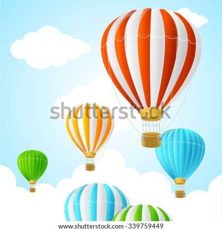Hot Air Background Card. Symbol Travel. Vector illustration - stock vector