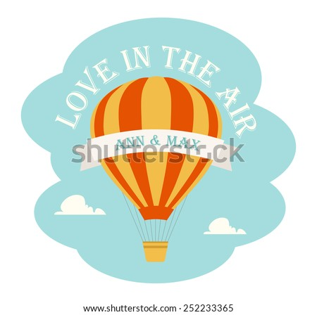 Hot Air Balloon and Clouds - stock vector