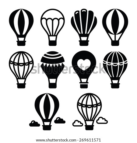 Hot air balloon and clouds icons set  - stock vector