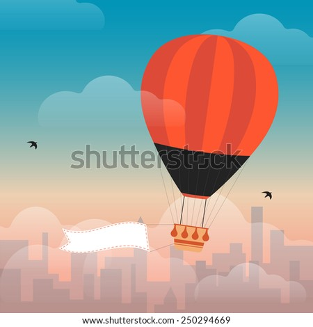 Hot Air Balloon and Clouds in the sky of a city - stock vector