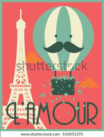 hot air balloon and paris eiffel tower poster template vector/illustration - stock vector