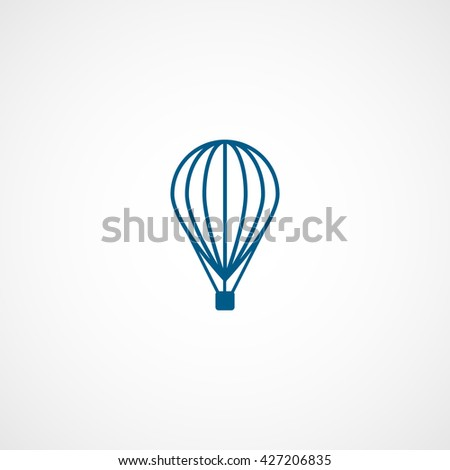 Hot Air Balloon Blue Icon On White Background