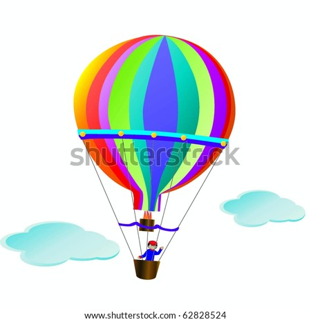 Hot Air Balloon Cartoon Vector - stock vector