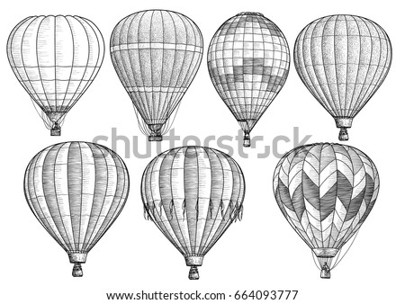 hot air balloon collection illustration drawing engraving ink line art vector