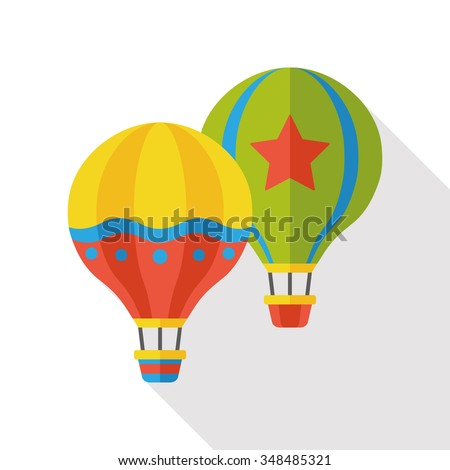 hot air balloon flat icon - stock vector