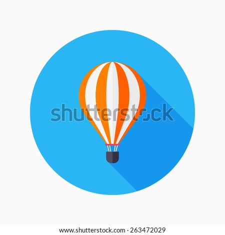 hot air balloon flat icon with long shadow on blue circle background , vector illustration , eps10 - stock vector