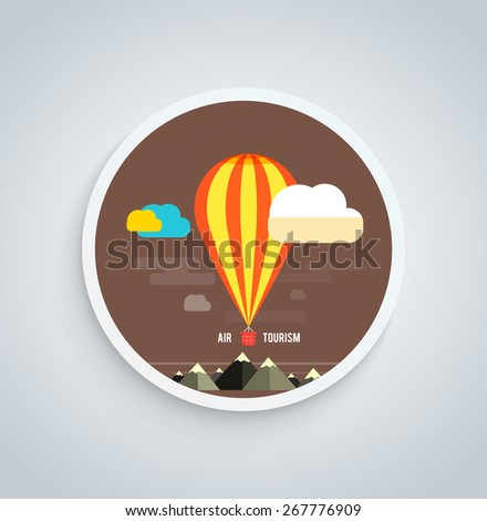 Hot air balloon flying over the mountain. Icons of traveling, planning a summer vacation, tourism and journey objects on round banner - stock vector