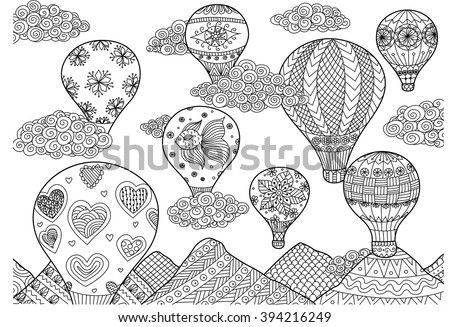 Hot air balloon flying, zentangle stylized for coloring book for anti stress for both adult and children - stock vector - stock vector
