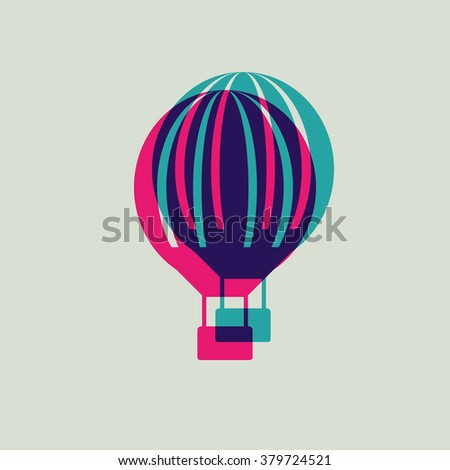Hot air balloon icon - stock vector