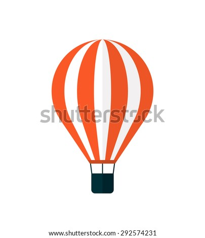 Hot air balloon icon, modern minimal flat design style, vector illustration isolated on white - stock vector