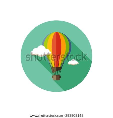 hot air balloon icon with long shadow - stock vector