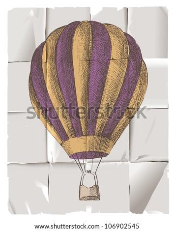 Hot air balloon in retro style - stock vector