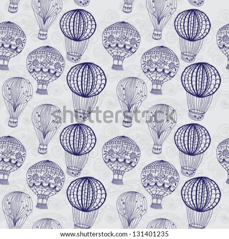 hot Air Balloon in sky, hand drawn seamless Background for Design, vector