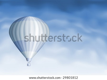 Hot air balloon in the blue sky (other sky views are in my gallery) - stock vector