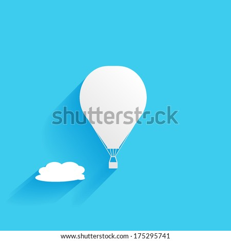 hot air balloon in the sky, flat icon isolated on a blue background for your design, vector illustration - stock vector