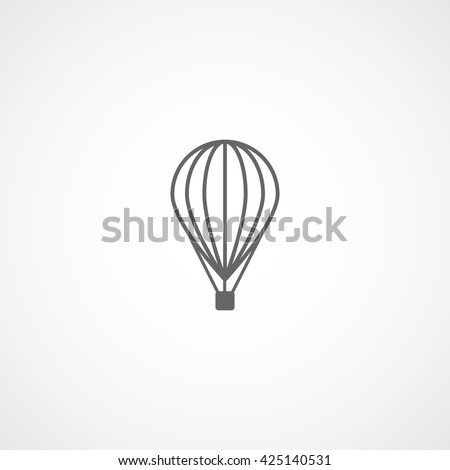 Hot Air Balloon Line Icon On White Background