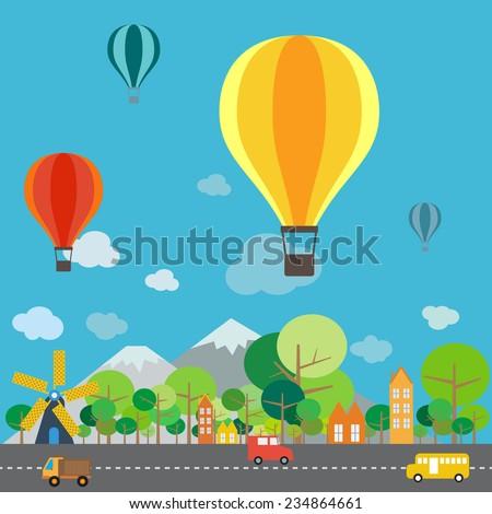 Hot air balloon over the mountain, infographics vector format - stock vector