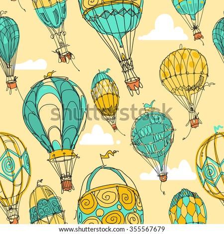 Hot Air Balloon Parade in Color - stock vector