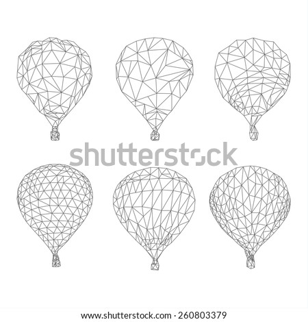 Hot air balloon polygon vector - stock vector