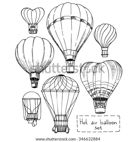Hot Air Balloon Set Contour Drawings 346632884