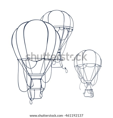 hot air balloon set contour drawings for design coloring book with hot air balloon