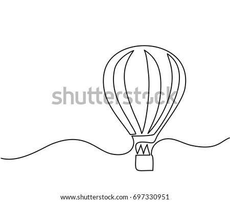 Hot air balloon sign. Continuous line drawing icon. Vector illustration