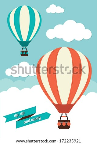Hot Air Balloon Vector Graphic - stock vector