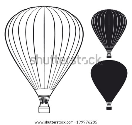 hot air balloon vector,icon,design,black,white,design - stock vector