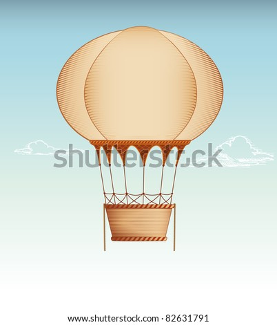 Hot Air Balloon Vintage vector illustration - stock vector