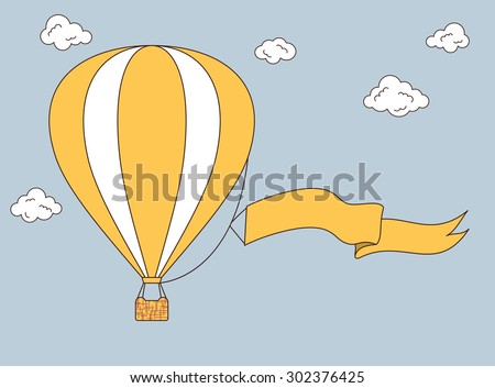 Hot air balloon with banner for your text - stock vector