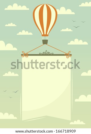 Hot air balloon with banner. Vector illustration.  - stock vector