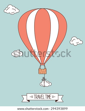 Hot air balloon with clouds and banner for your text - stock vector