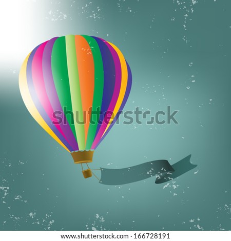hot air balloon with green banner - stock vector