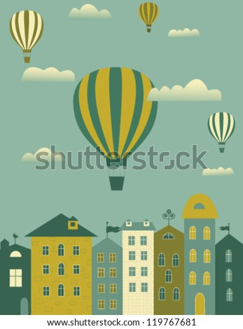 Hot air balloons flying over the town.Vector - stock vector