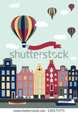 Hot air balloons flying over the town. Vector - stock vector