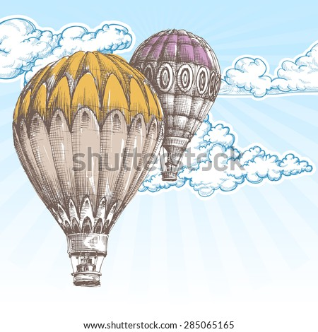 Hot air balloons in the blue sky retro background - stock vector