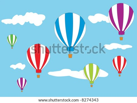 Hot air balloons in the sky - stock vector