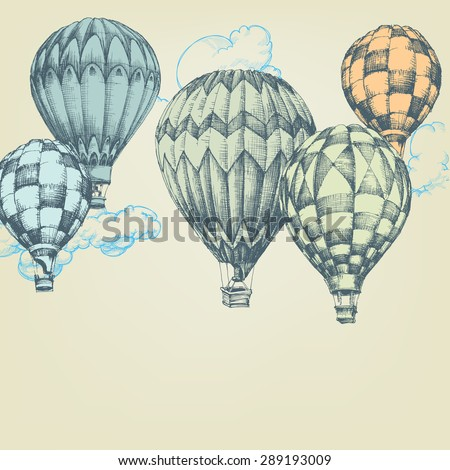 Hot air balloons in the sky background - stock vector