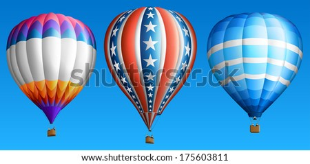 Hot air balloons, isolated on blue, set four, EPS 10, contains transparency.