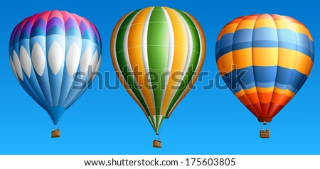 Hot air balloons, isolated on blue, set two, EPS 10, contains transparency. - stock vector