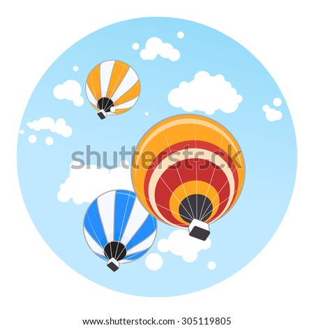 Hot air balloons on blue sky background - stock vector