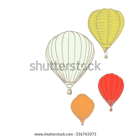 hot air balloons over white background - stock vector