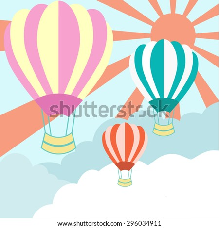 Hot air balloons with space for your message. EPS10 vector.  - stock vector