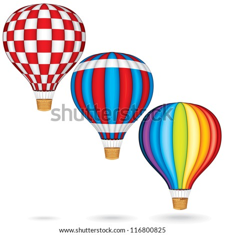 Hot Air Balloons with Woven Gondola. Colorful Vector Illustration isolated on white Background - stock vector