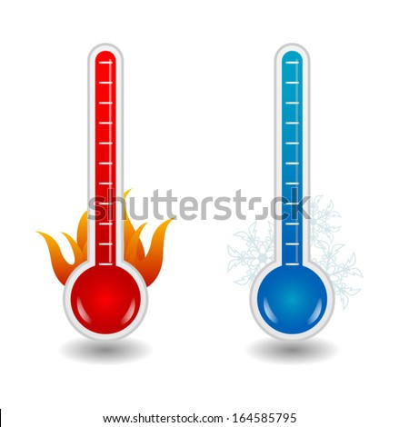 Hot and cold thermometers, eps10 vector - stock vector