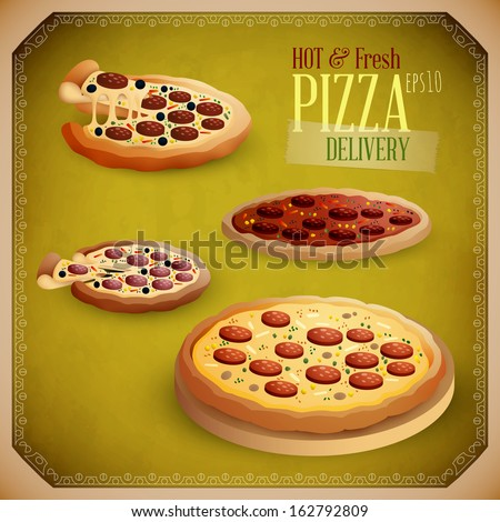 Hot and Fresh Pizza Delivery | EPS10 Vector Set - stock vector