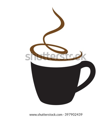 Hot cappuccino coffee cup with steam. Vector stencil.  - stock vector