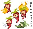 hot chili collection - stock vector