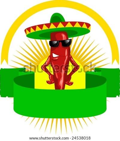 hot chili label - stock vector